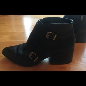 "Sam Edelman ""Circus"" Black Buckle Ankle Boots"